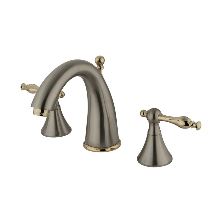 Elements of Design Satin Nickel/Polished Brass 2-Handle Widespread Bathroom Faucet (Drain Included)
