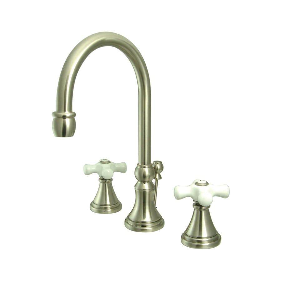 Shop elements of design satin nickel 2 handle widespread bathroom sink faucet at for Elements of design bathroom faucets
