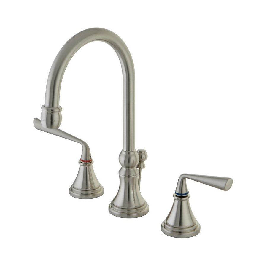 Elements of Design Silver Sage Satin Nickel 2-Handle Widespread Bathroom Faucet (Drain Included)