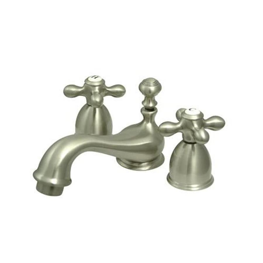 Shop elements of design chicago satin nickel 2 handle 4 in mini widespread bathroom faucet at for Elements of design bathroom faucets