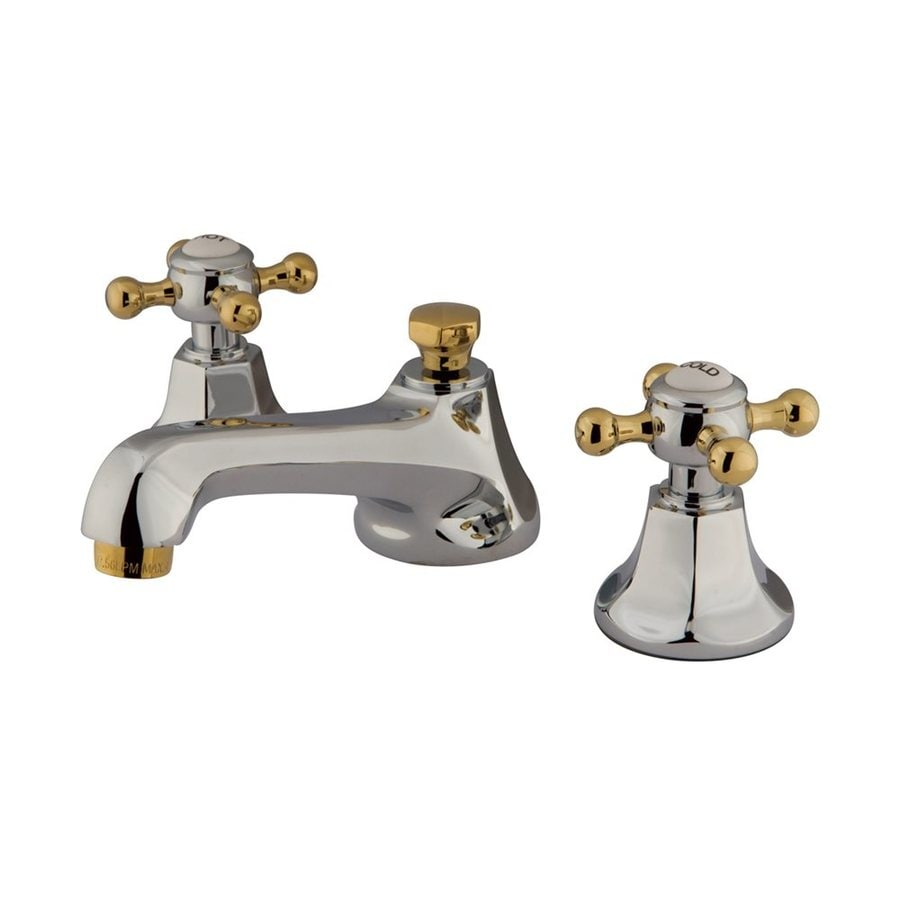 Elements of Design New York Chrome/Polished Brass 2-Handle Widespread Bathroom Faucet