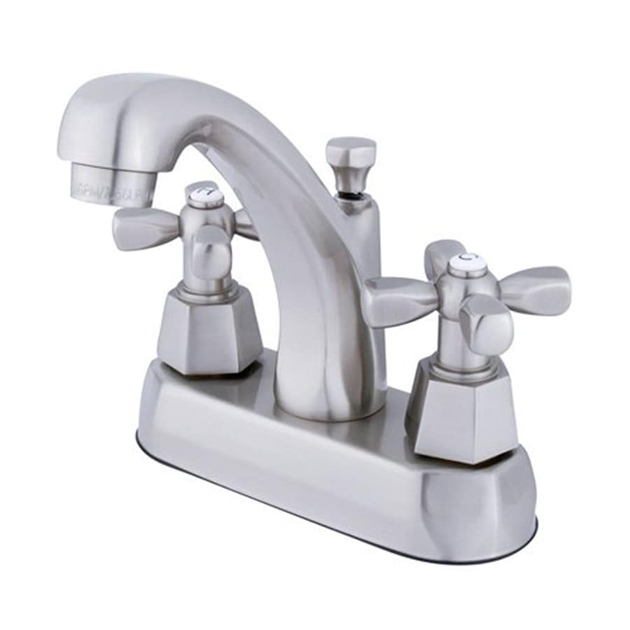 Elements of Design Metropolitan Satin Nickel 2-Handle 4-in Centerset Bathroom Faucet (Drain Included)