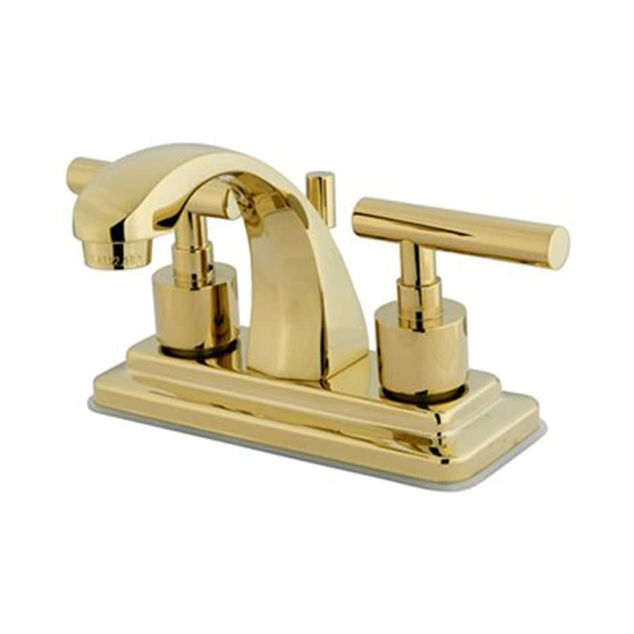 Elements of Design Manhattan Polished Brass 2-Handle 4-in Centerset Bathroom Faucet (Drain Included)