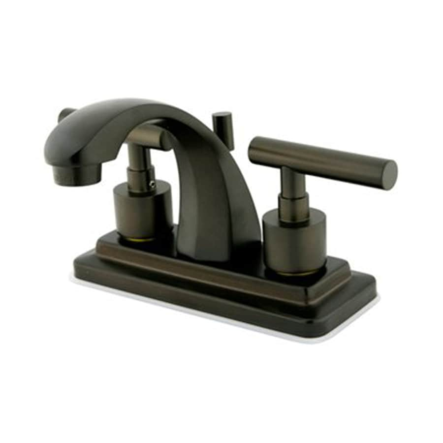 Elements of Design Manhattan Oil-Rubbed Bronze 2-Handle 4-in Centerset Bathroom Faucet (Drain Included)