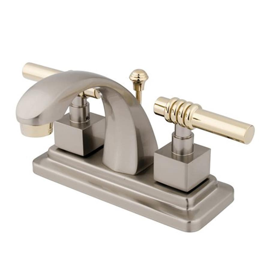 Elements of Design Milano Satin Nickel/Polished Brass 2-Handle 4-in Centerset Bathroom Faucet (Drain Included)