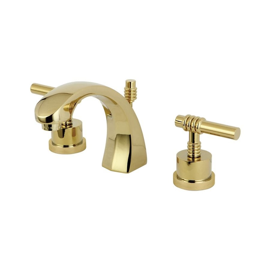 Shop Elements Of Design Milano Polished Brass 2 Handle Widespread Bathroom Sink Faucet At