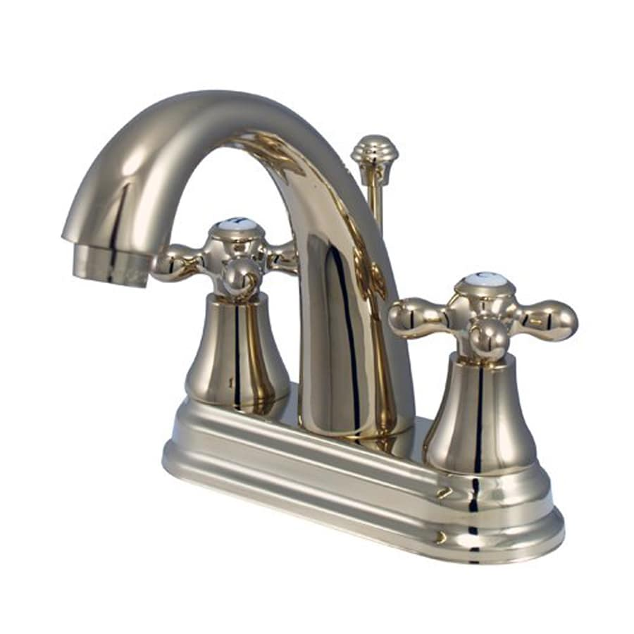 Elements of Design Elizabeth Polished Brass 2-Handle 4-in Centerset Bathroom Faucet (Drain Included)