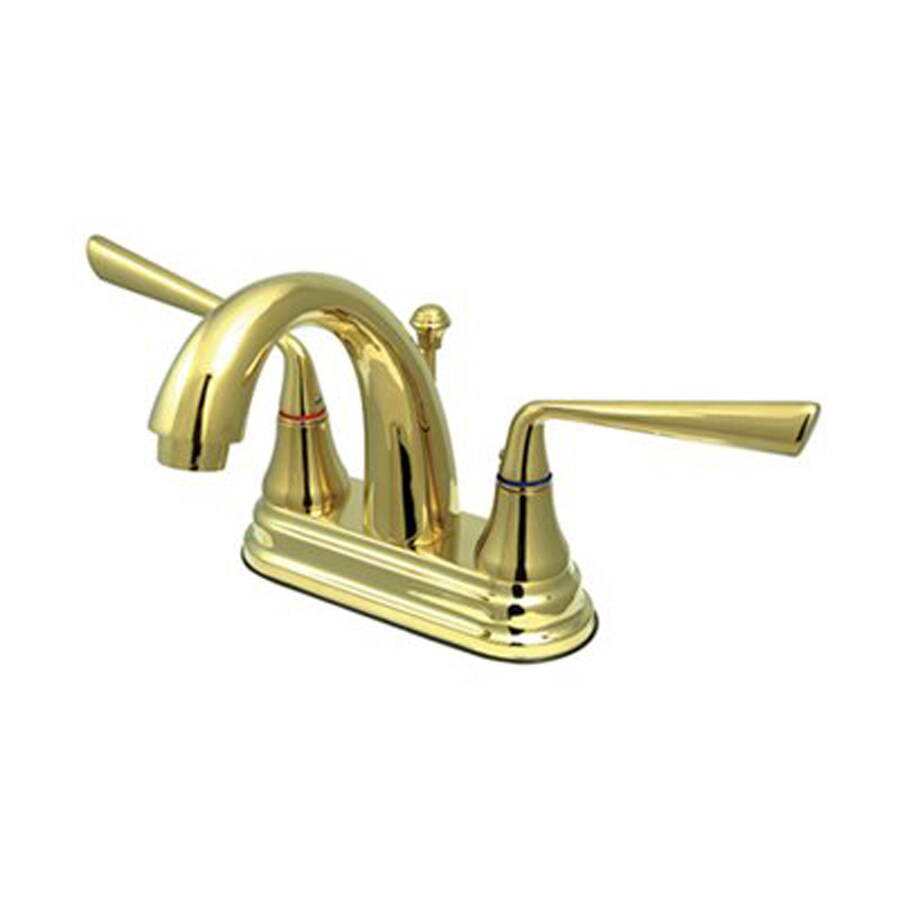 Elements of Design Silver Sage Polished Brass 2-Handle 4-in Centerset Bathroom Faucet (Drain Included)