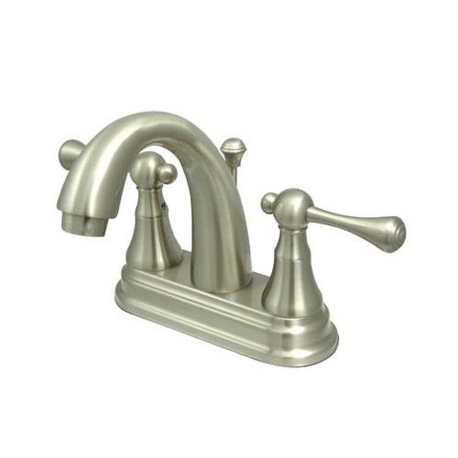 Elements of Design English Vintage Satin Nickel 2-Handle 4-in Centerset Bathroom Faucet (Drain Included)