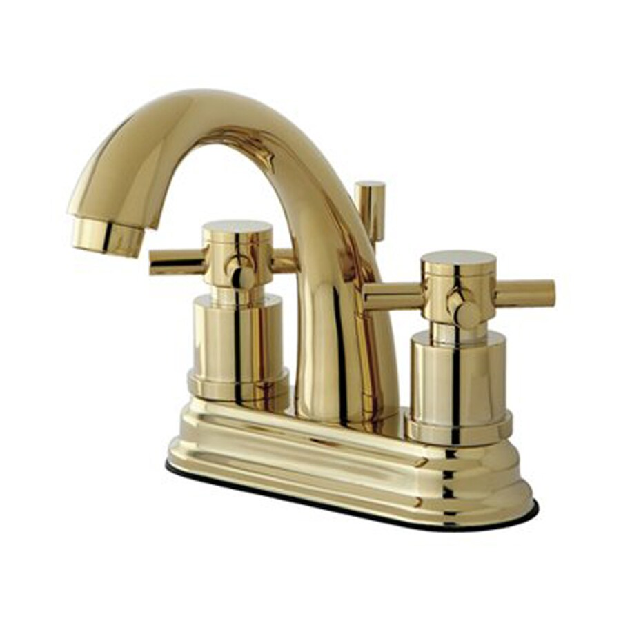 Elements of Design Polished Brass 2-Handle 4-in Centerset Bathroom Faucet (Drain Included)