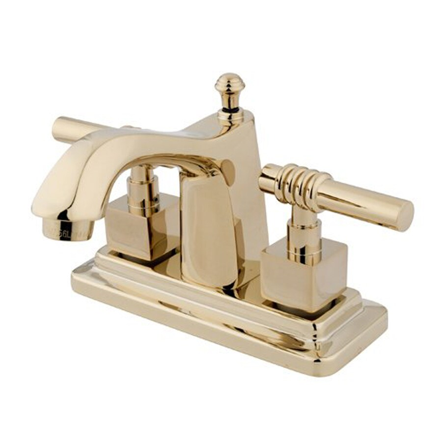 Elements of Design Milano Polished Brass 2-Handle 4-in Centerset Bathroom Faucet (Drain Included)