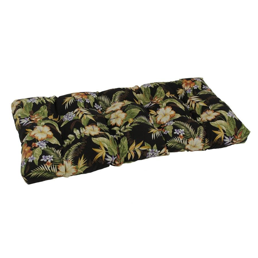 Blazing Needles Freeport Ebony Floral Patio Loveseat Cushion For Loveseat /Bench