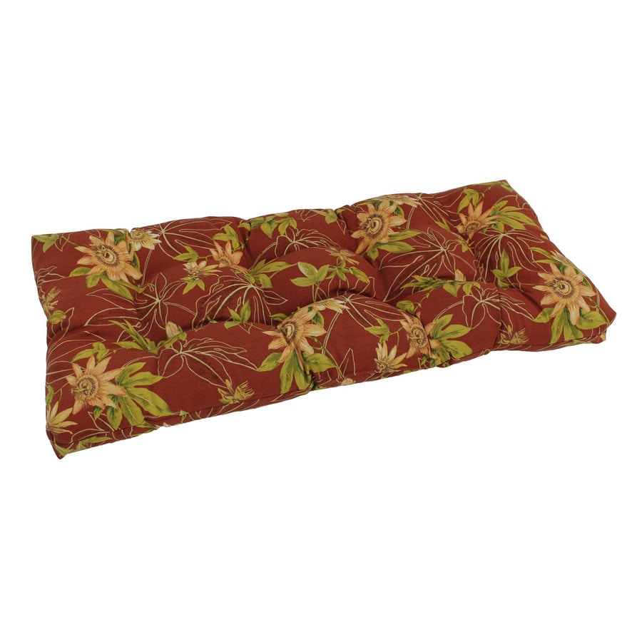 Blazing Needles Passion Ruby Floral Patio Loveseat Cushion for Loveseat/Bench