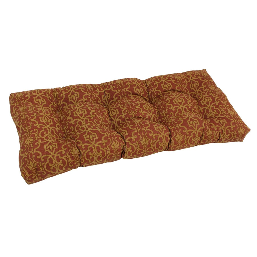 Blazing Needles Vanya Paprika Damask Patio Loveseat Cushion for Loveseat/Bench
