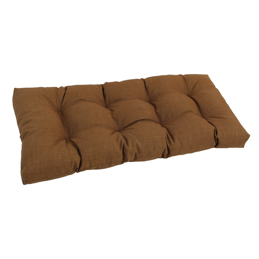 Shop Blazing Needles Mocha Solid Patio Loveseat Cushion For Loveseat Bench At