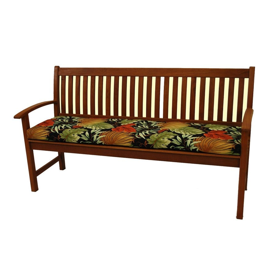Genial Blazing Needles Dacron 1 Piece Tropique Raven Patio Bench Cushion