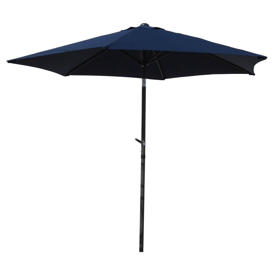 International Caravan Navy Market Patio Umbrella (Common: 8.5-ft W x 8.5-ft L; Actual: 8.25-ft W x 8.25-ft L)