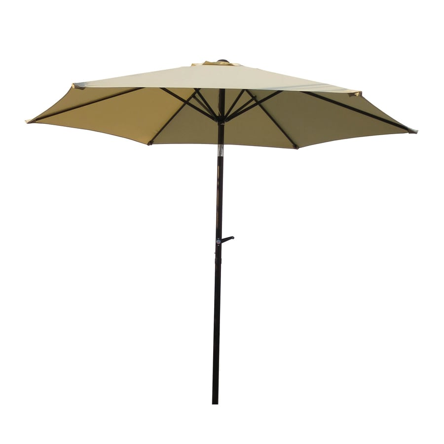 International Caravan Beige Market Patio Umbrella (Common: 8.5-ft W x 8.5-ft L; Actual: 8.25-ft W x 8.25-ft L)
