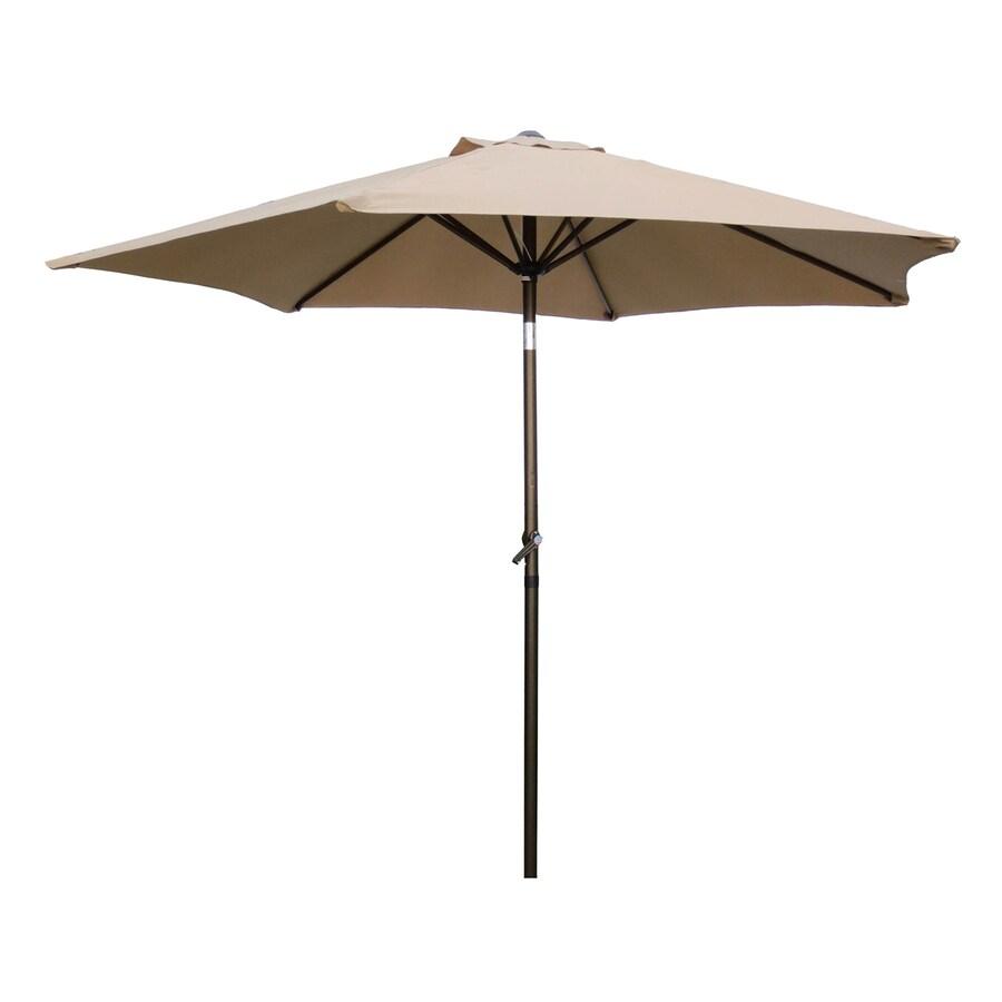 International Caravan St Kitts Khaki Market Patio Umbrella (Common: 8.5-ft W x 8.5-ft L; Actual: 8.25-ft W x 8.25-ft L)