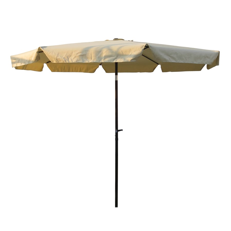 International Caravan Beige Market Patio Umbrella (Common: 10-ft W x 10-ft L; Actual: 9.83-ft W x 9.83-ft L)