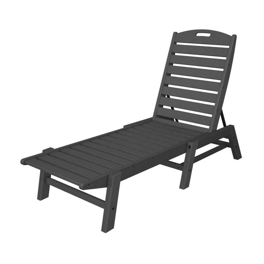 Shop polywood nautical slate grey plastic stackable patio for Acrylic chaise lounge