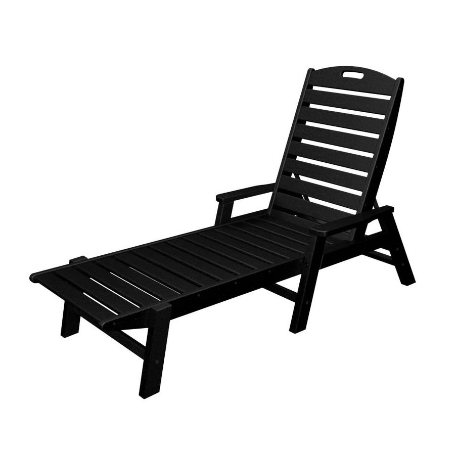 POLYWOOD Nautical Black Plastic Patio Chaise Lounge Chair