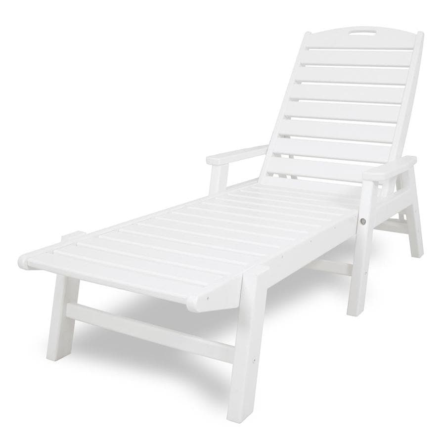 POLYWOOD Nautical White Plastic Patio Chaise Lounge Chair