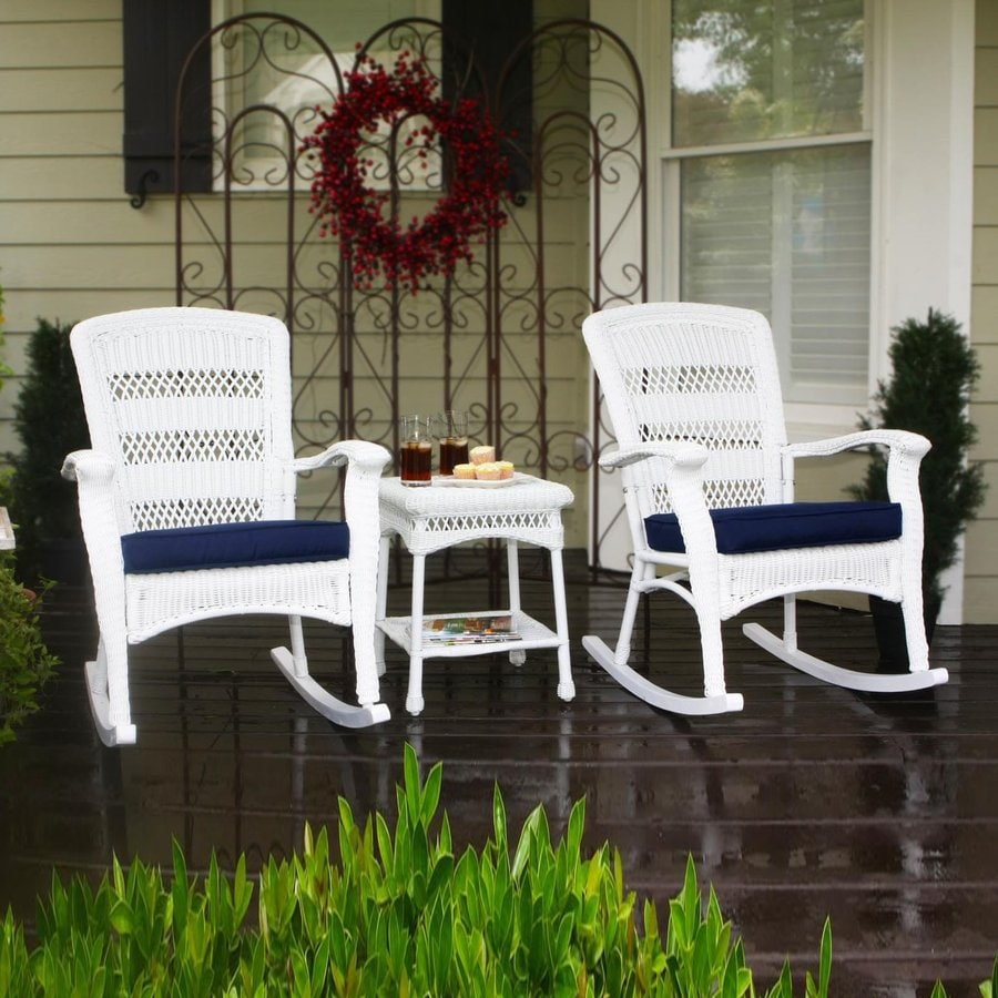 Tortuga Outdoor Portside 3 Piece Wicker Frame Patio Conversation Set With  Navy Cushions