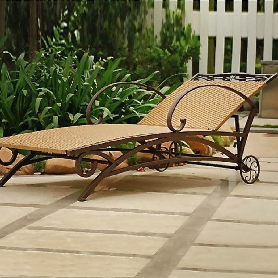 International Caravan Valencia Wicker Patio Chaise Lounge Chair
