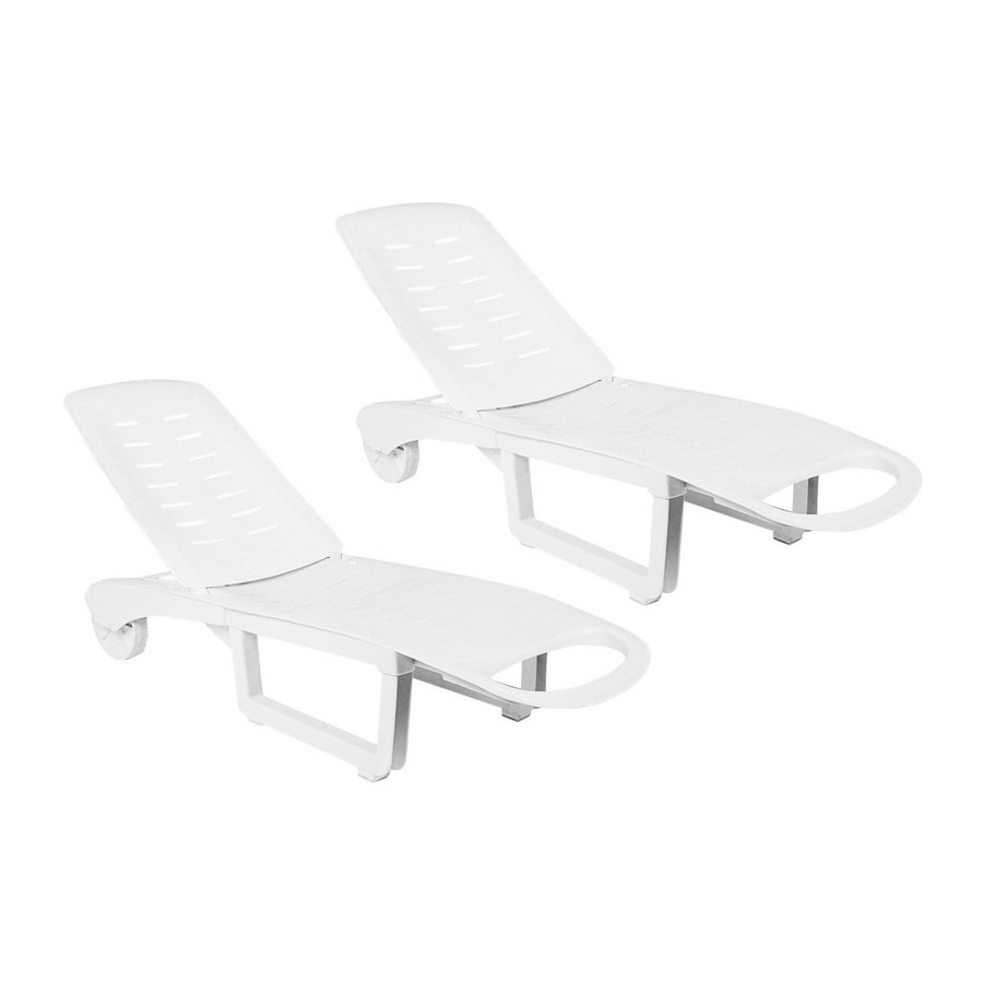 Shop Compamia Sundance Pool 2 Count White Resin Patio Chaise Lounge Chair At