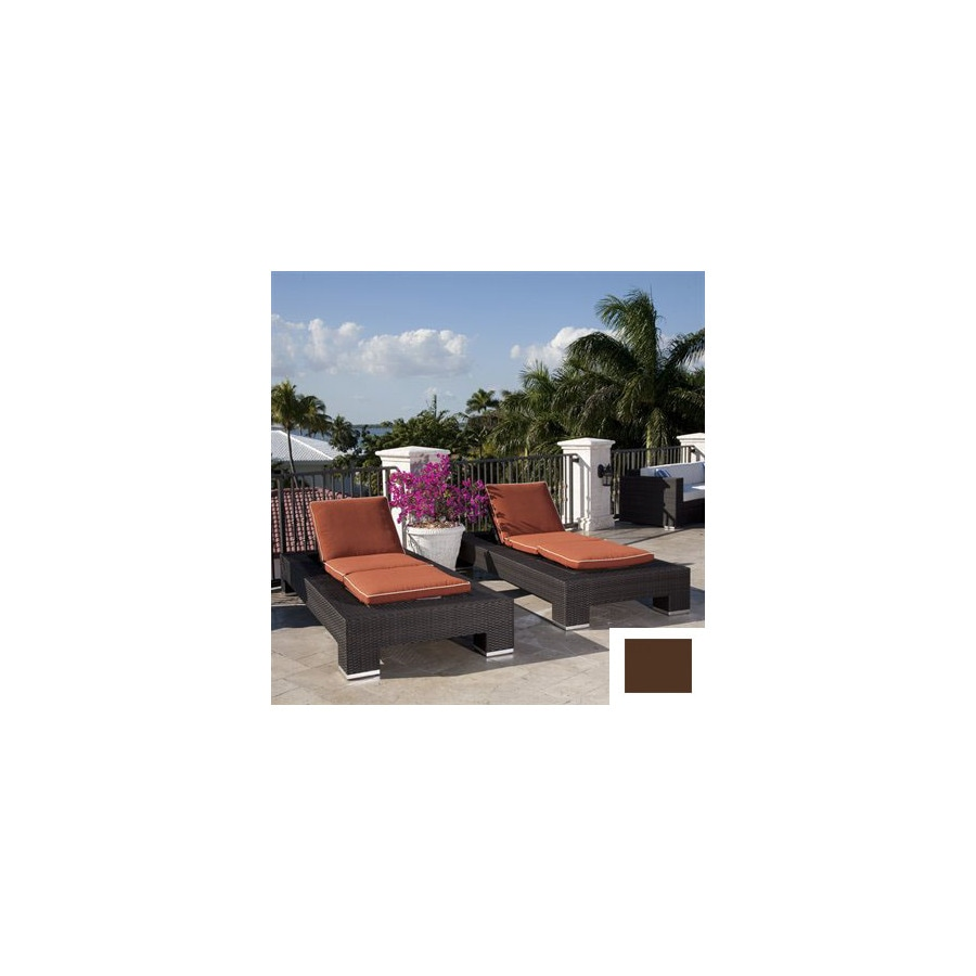 Source Outdoor Set of 2 King Aluminum Patio Chaise Lounges with Brown Cushions
