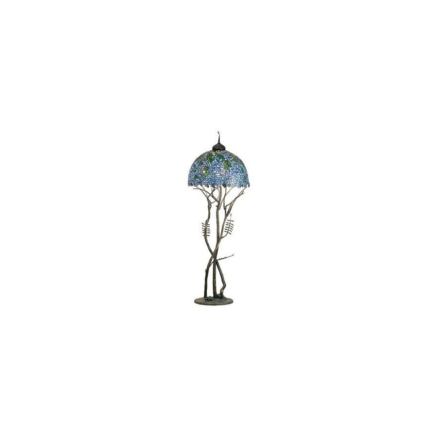 Meyda Tiffany 74-in Antique Patina Tiffany-Style Floor Lamp with Glass Shade