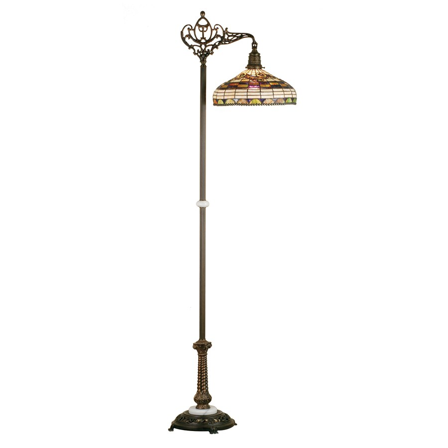 Meyda Tiffany Edwardian Bridge 70-in Mahogany Bronze Tiffany-Style Indoor Floor Lamp with Glass Shade