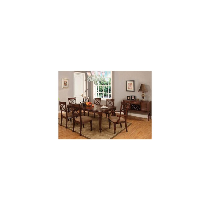 Furniture Of America Myrtle Beach Dark Oak Dining Set In The Dining Room Sets Department At Lowes Com