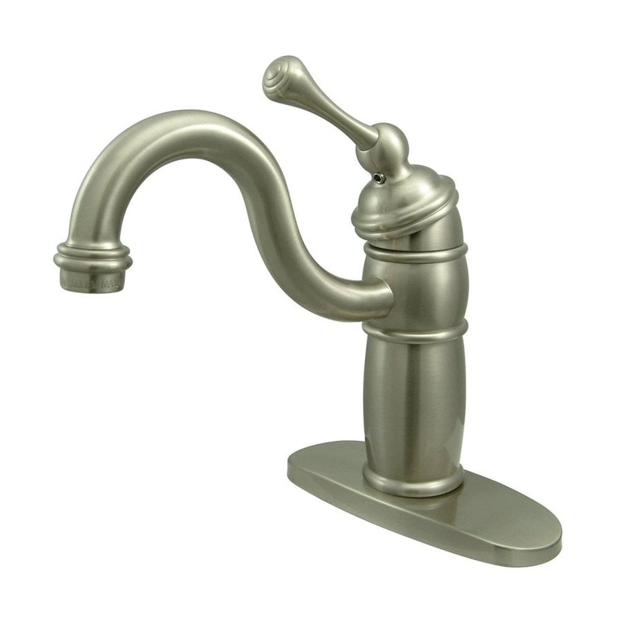 Elements of Design Hot Springs Satin Nickel 1-Handle Deck Mount High-Arc Bar and Prep Faucet