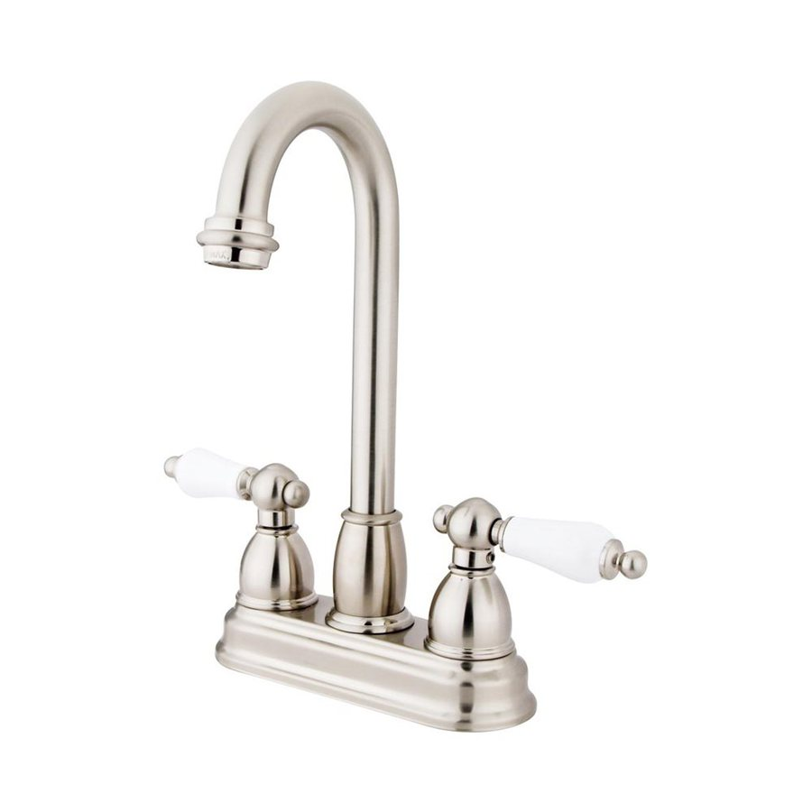 Elements of Design Chicago Satin Nickel 2-Porcelain Handle Bar and Prep Faucet