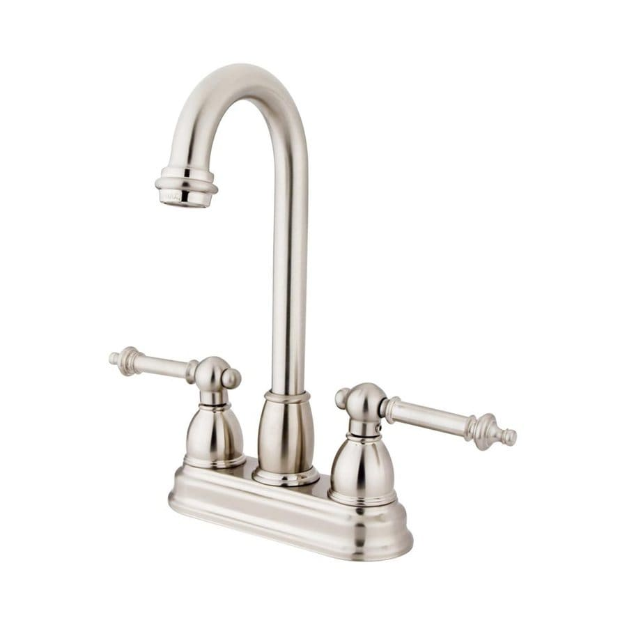 Elements of Design Chicago Satin Nickel 2-Handle Deck Mount High-Arc Bar and Prep Faucet