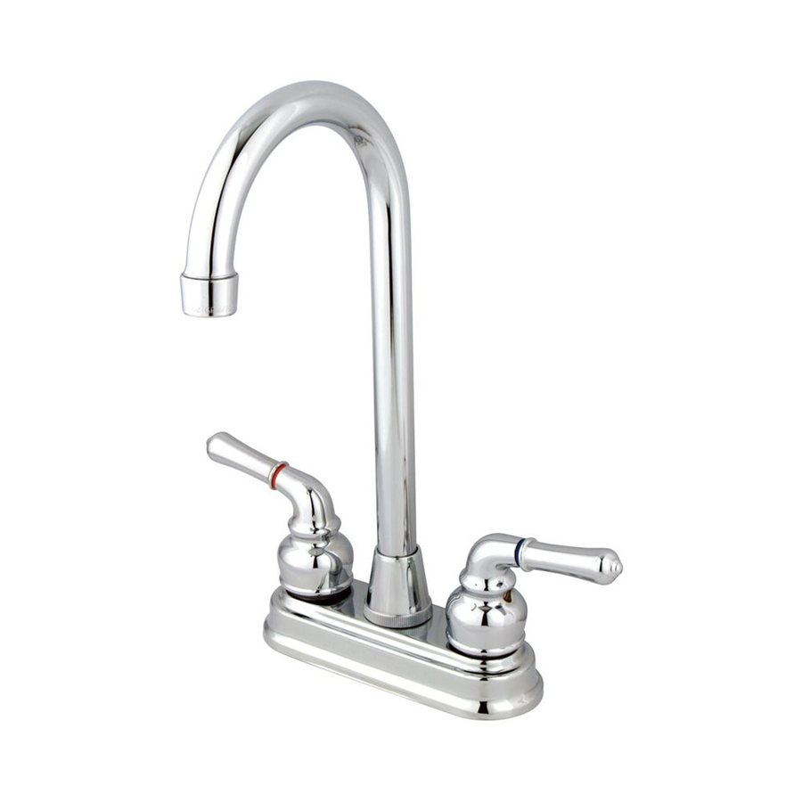 Elements of Design Magellan Chrome 2-Handle Deck Mount High-Arc Bar and Prep Faucet