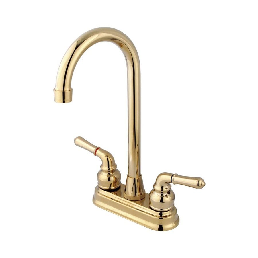 Elements of Design Magellan Polished Brass 2-Handle Bar and Prep Faucet