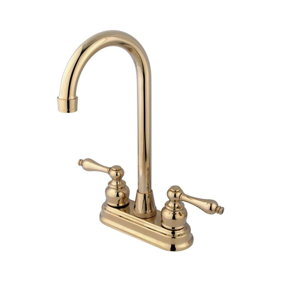 Elements of Design Magellan Polished Brass 2-Handle Deck Mount High-Arc Bar and Prep Faucet