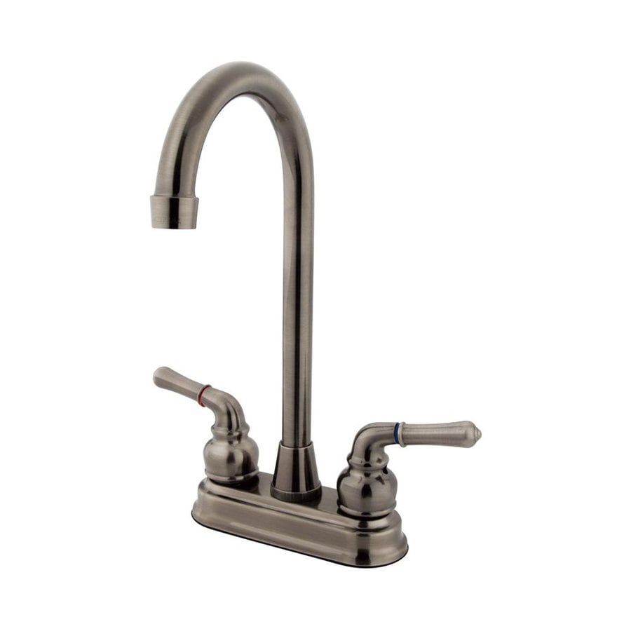 Elements of Design Magellan Vintage Nickel 2-Handle Deck Mount High-Arc Bar and Prep Faucet