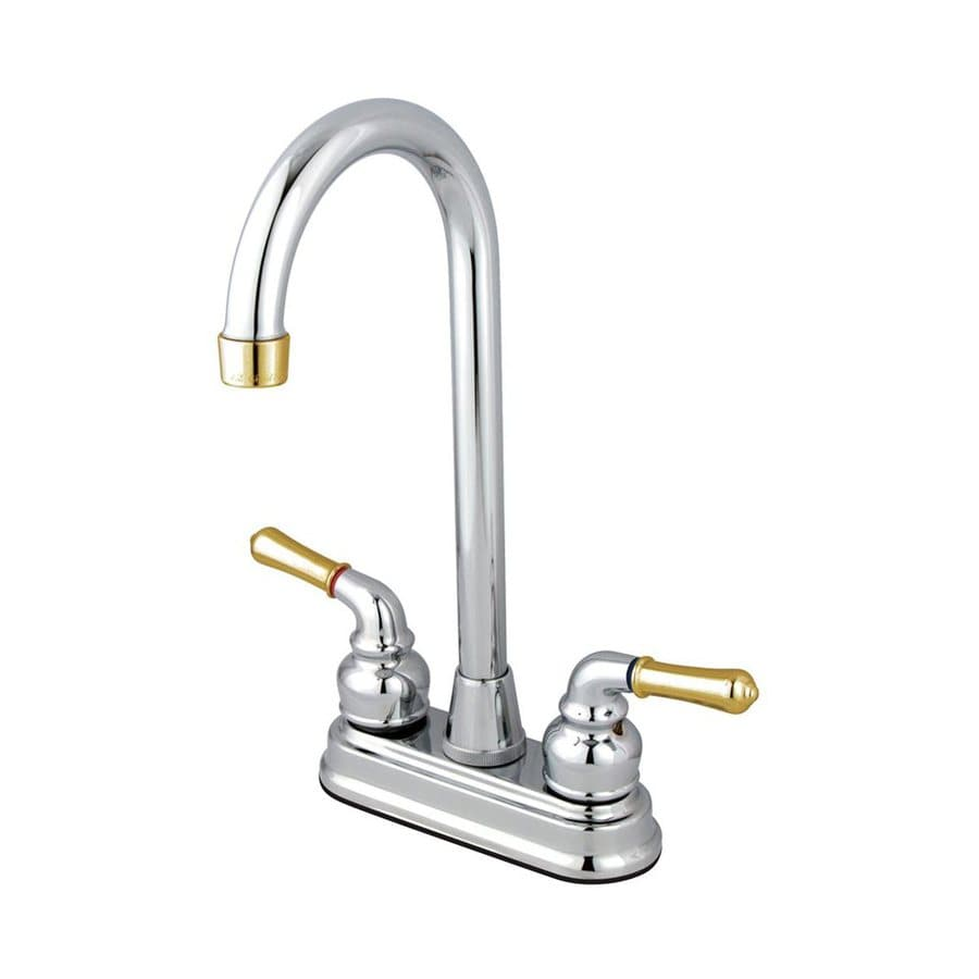 Shop Elements Of Design Magellan Chrome Polished Brass 2 Handle Kitchen Faucet At