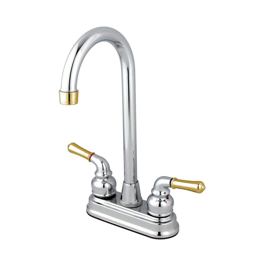 Elements of Design Magellan Chrome/Polished Brass 2-Handle Bar and Prep Faucet