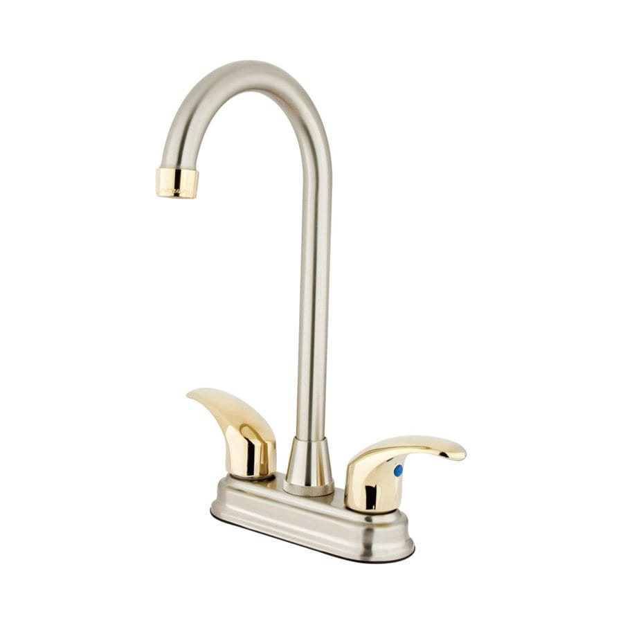 Elements of Design Daytona Satin Nickel/Polished Brass 2-Handle Deck Mount High-Arc Bar and Prep Faucet