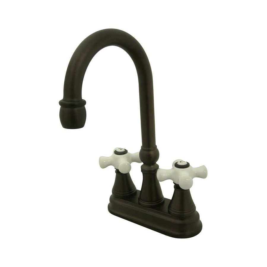 Elements of Design Oil-Rubbed Bronze 2-Handle Deck Mount High-Arc Bar and Prep Faucet