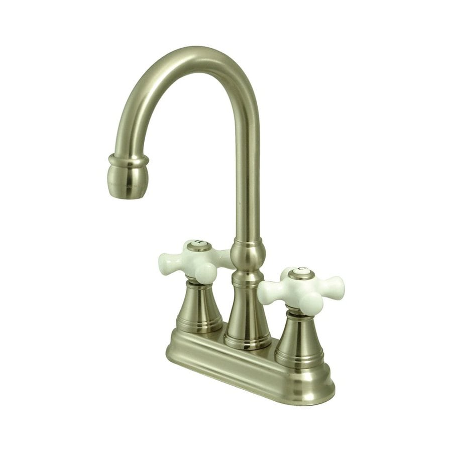 Elements of Design Satin Nickel 2-Porcelain Handle Bar and Prep Faucet