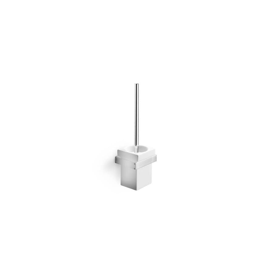 WS Bath Collections Skuara Polished Chrome/Ceramic White Brass Toilet Brush Holder