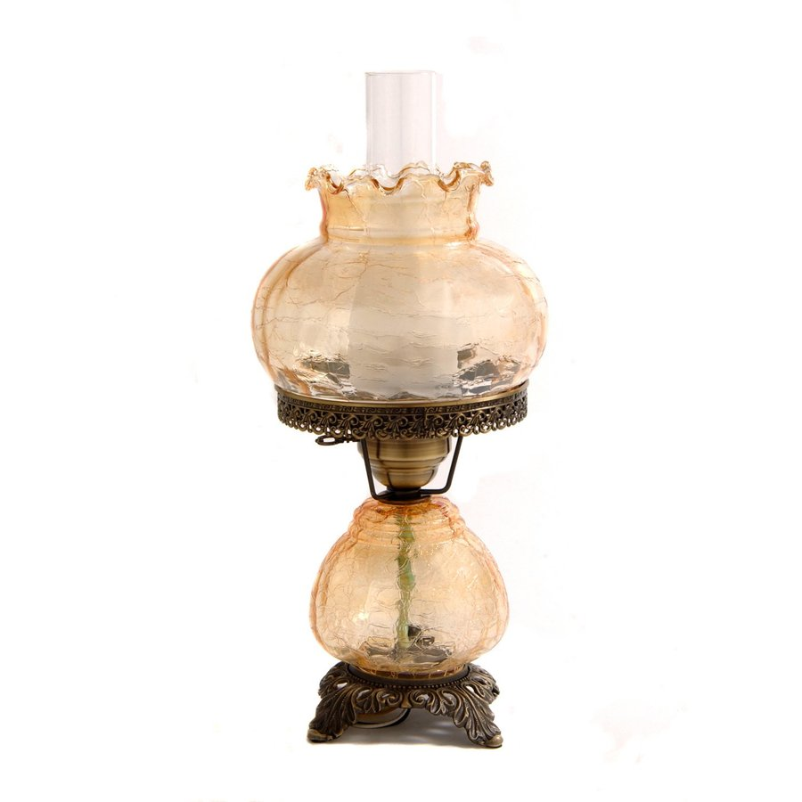 Summit Crackle 19-in Antique brass Electrical Outlet Rotary Socket Table Lamp with Glass Shade