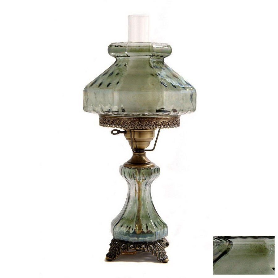 Summit 21-in Antique Brass Indoor Table Lamp with Glass Shade