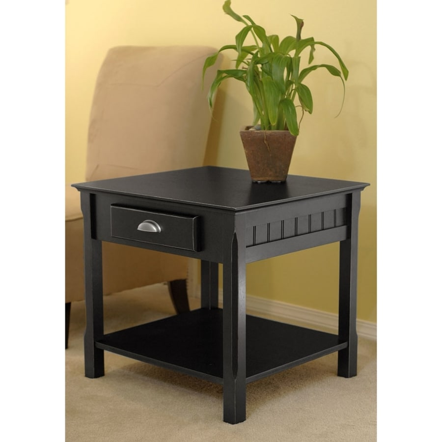 Shop winsome wood timber black end table at for Black wood end tables